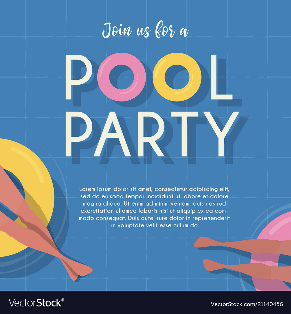 Pool party invitation template top view pool