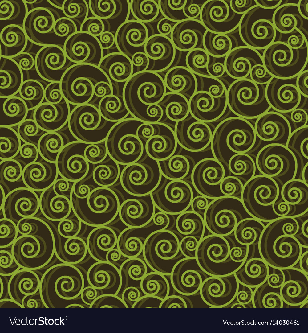 Abstract green swirls on black background vector image