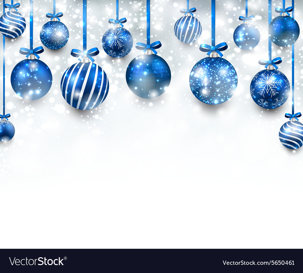 arc background with blue christmas balls vector image vectorstock