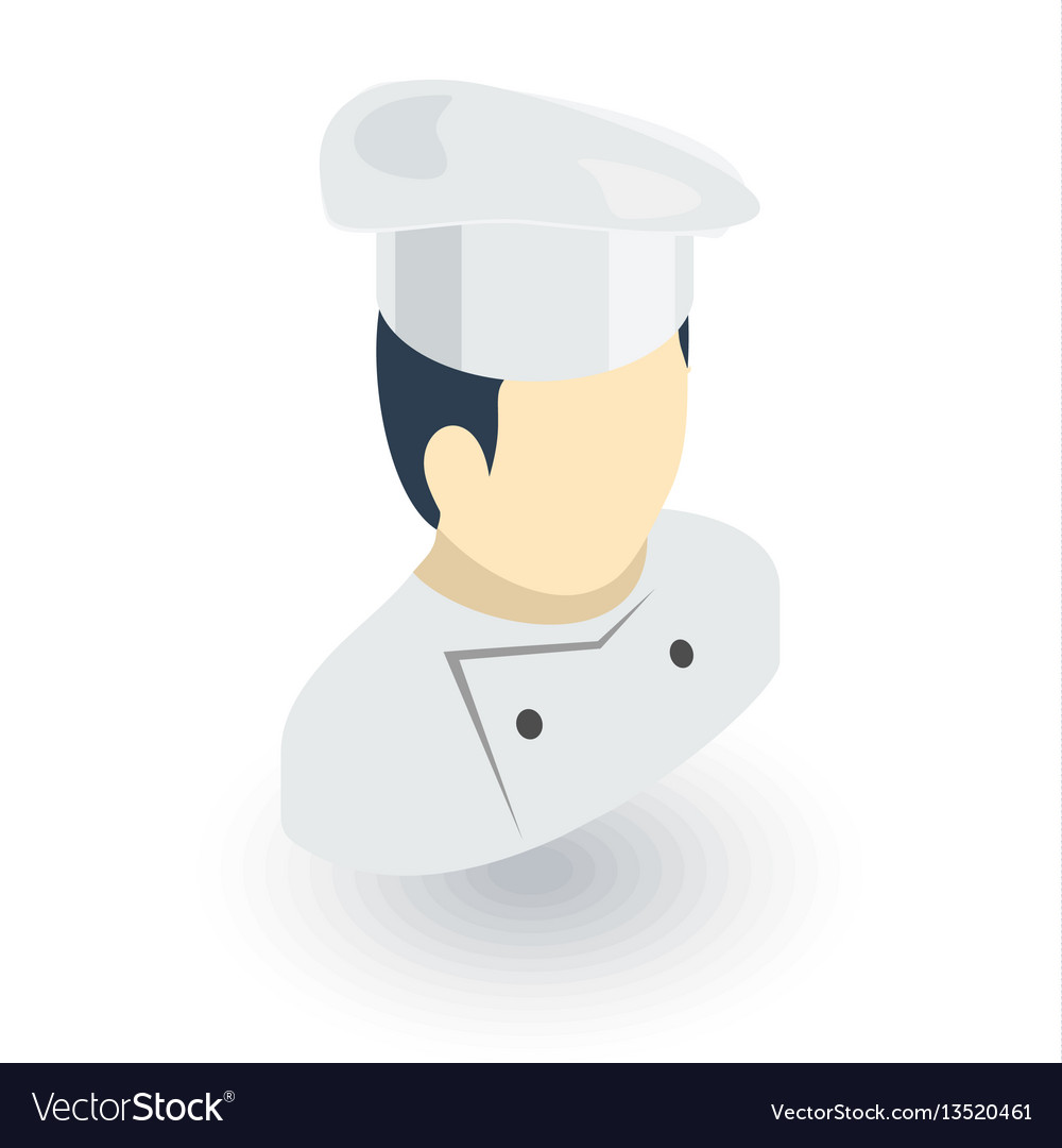 Avatar chef man cook isometric flat icon 3d
