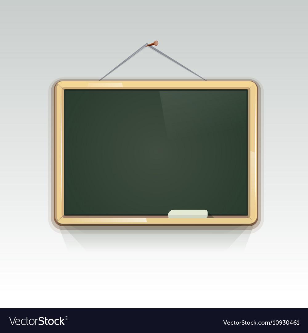 Blank School Blackboard Hanging On Wall Vector Image