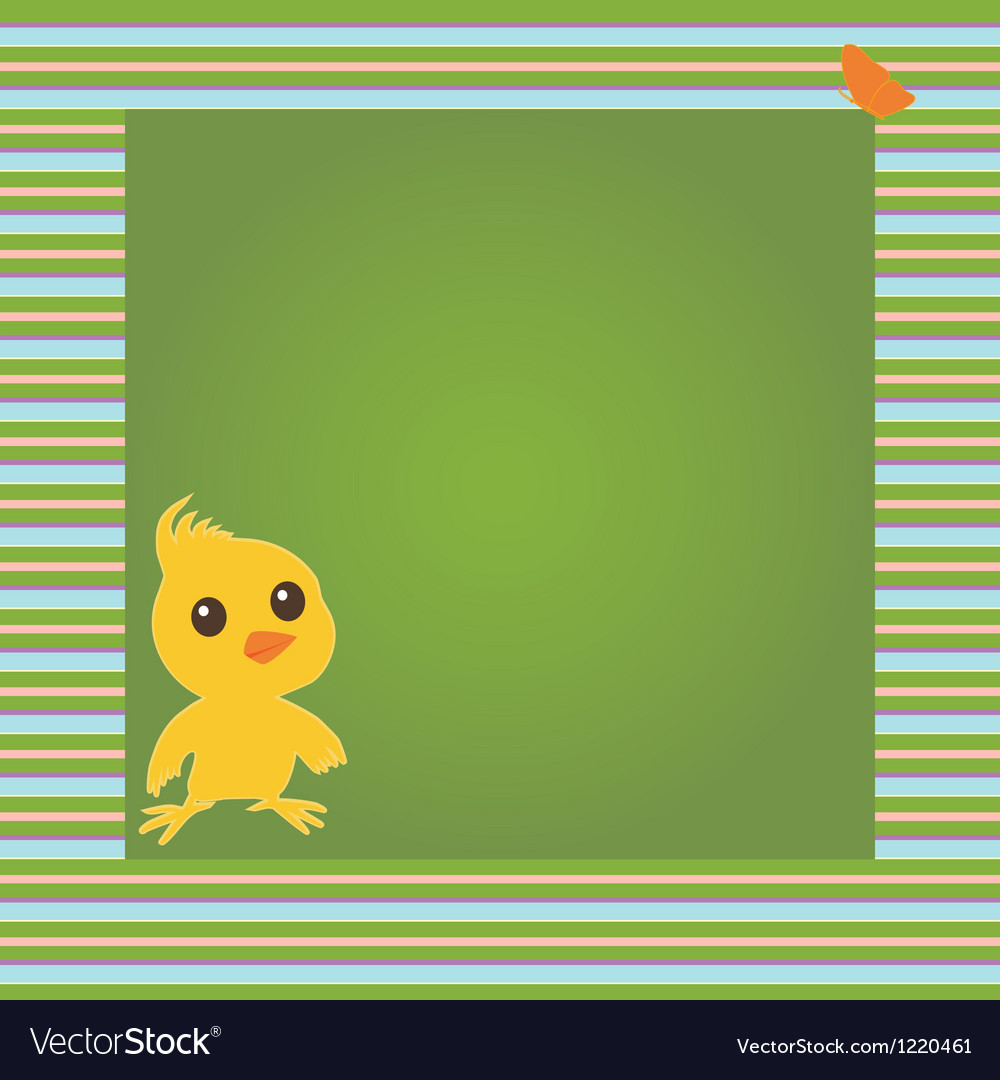 Card with chicken and butterfly