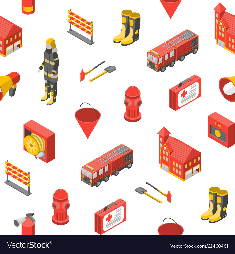 Firefighter man and equipment seamless pattern