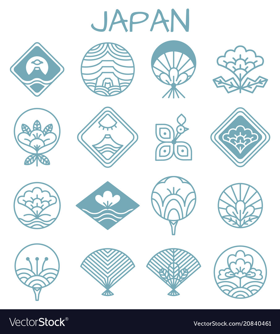 Japanese icons with unusual floristic patterns