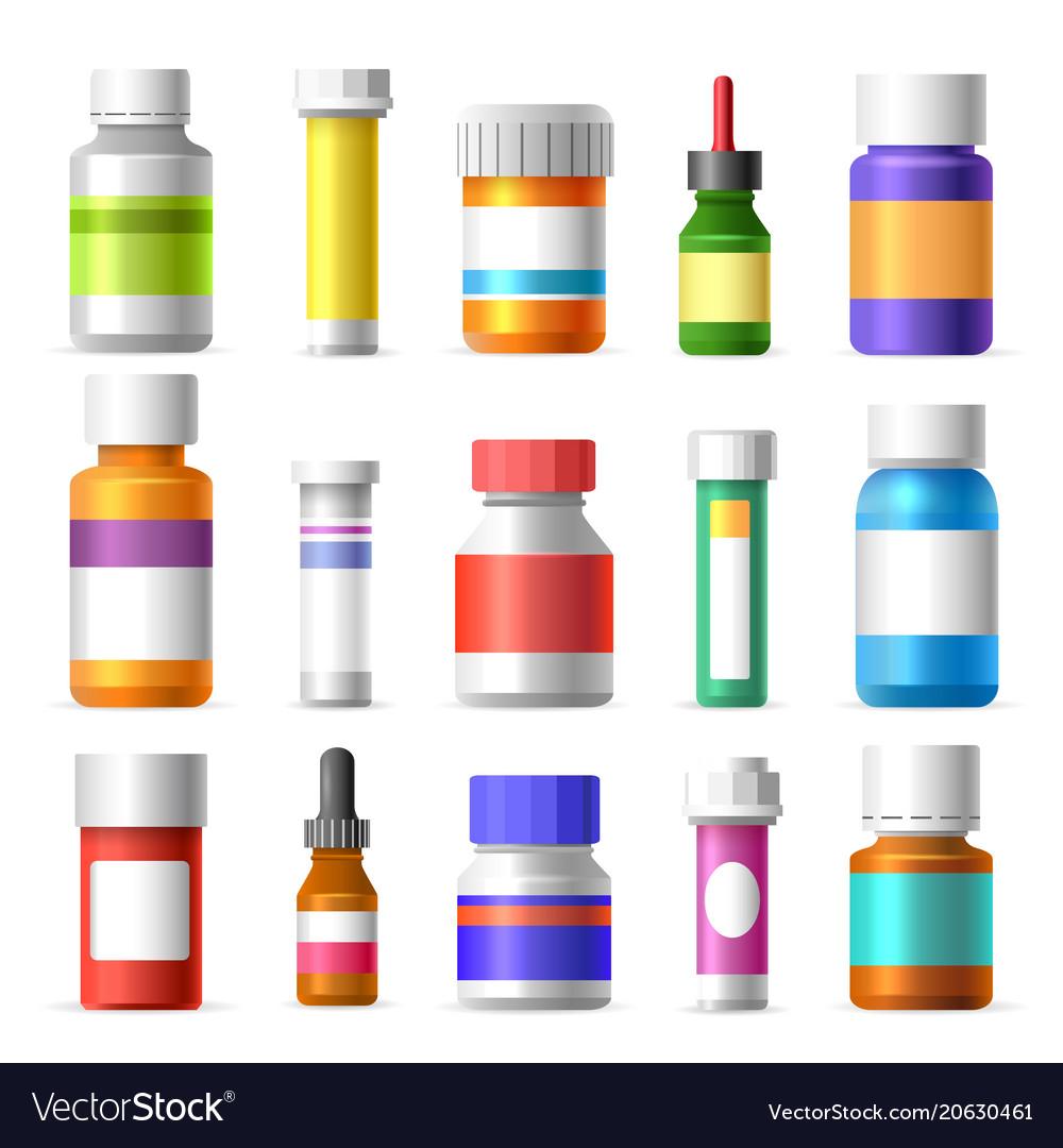 Medicine bottles set vector image