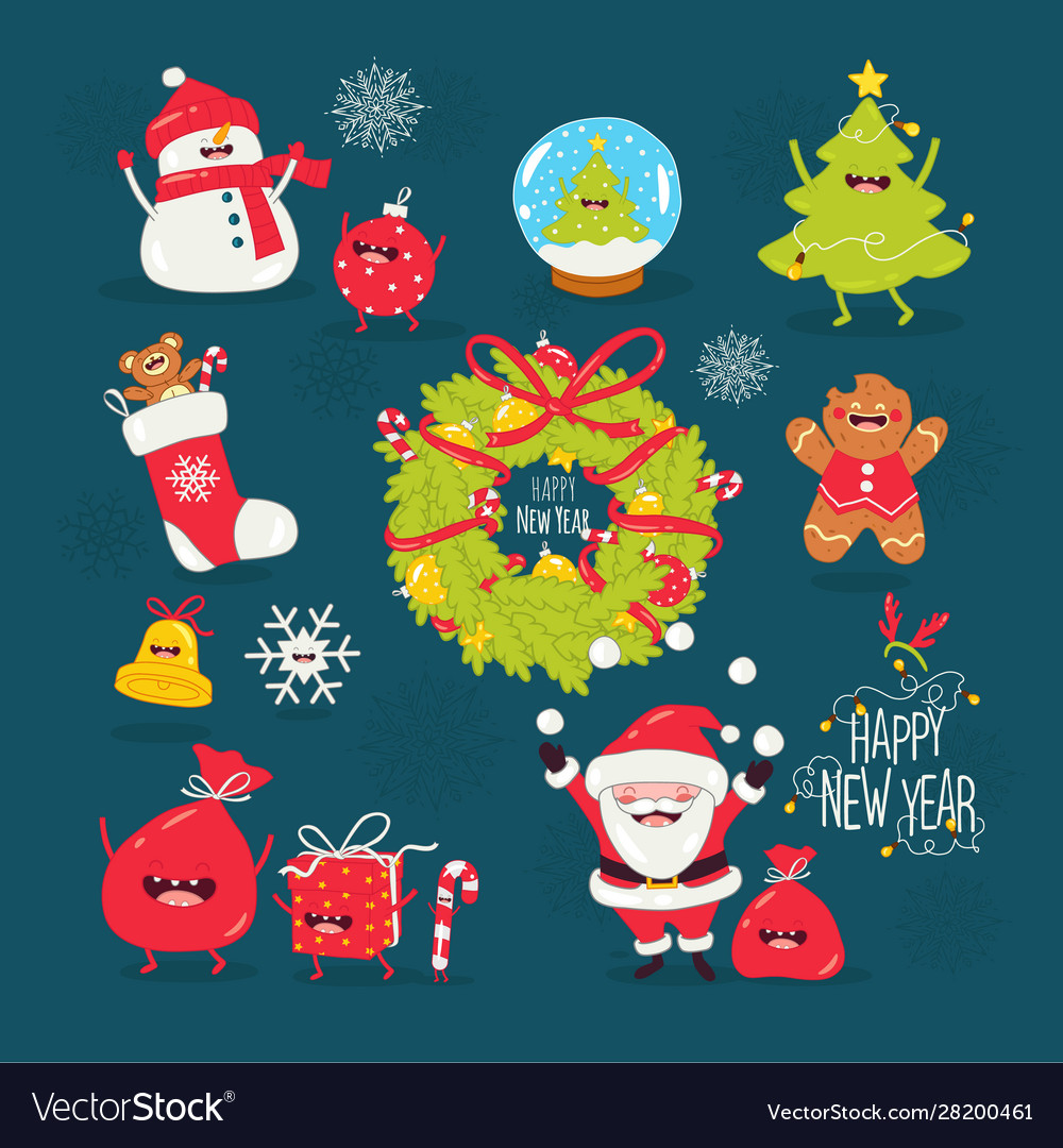 Merry christmas and a happy new year santa