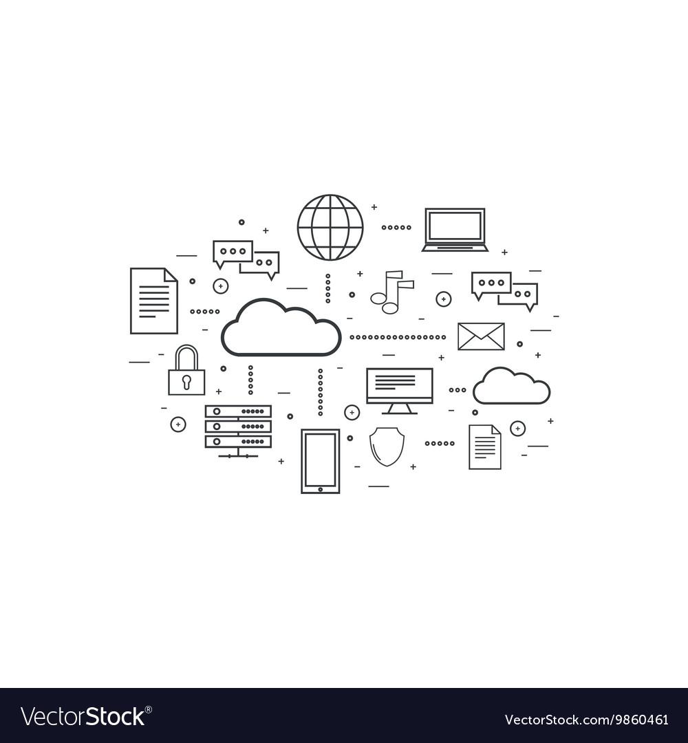 Network cloud computing vector image
