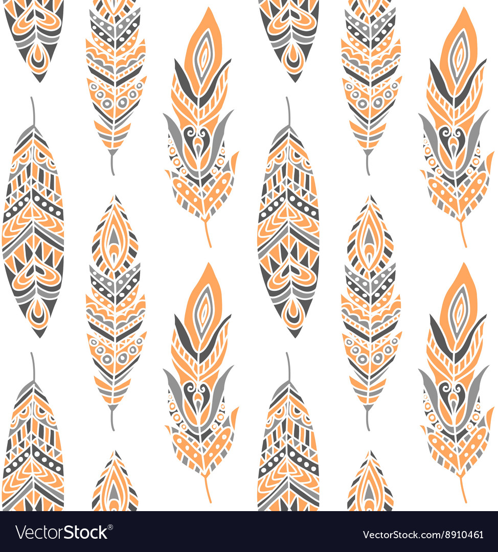 Seamless Pattern with Ethnic Feathers