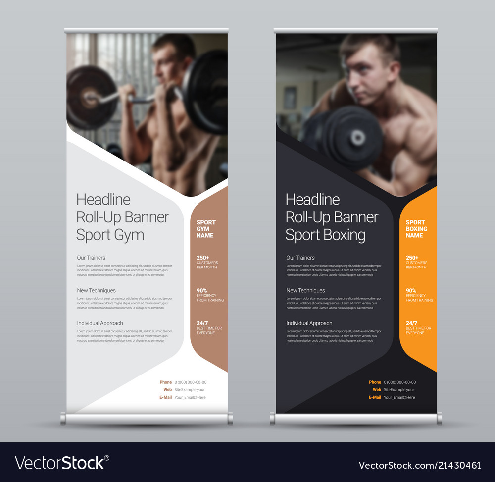 Template vertical roll-up banner