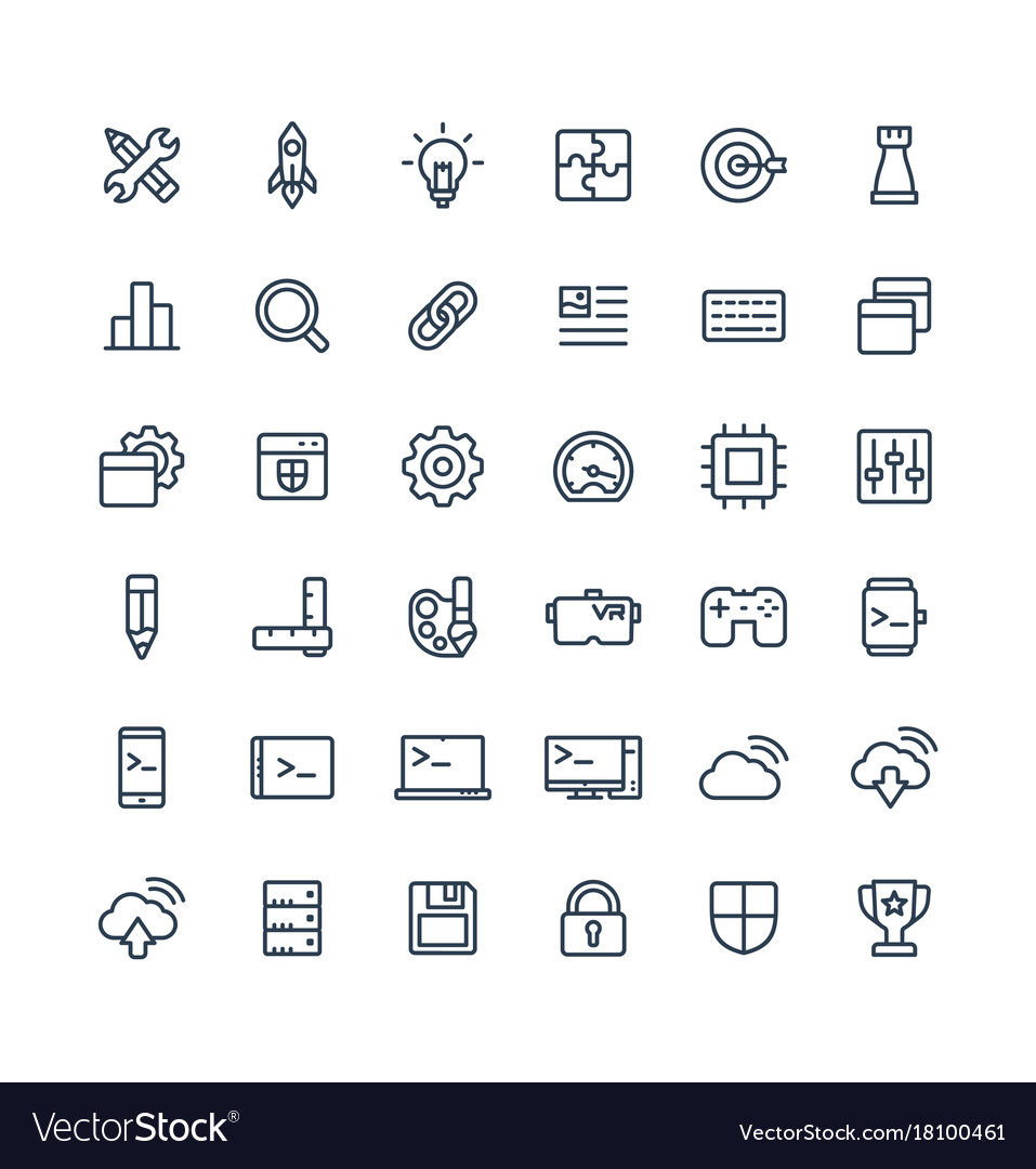 Thin line icons set with digital
