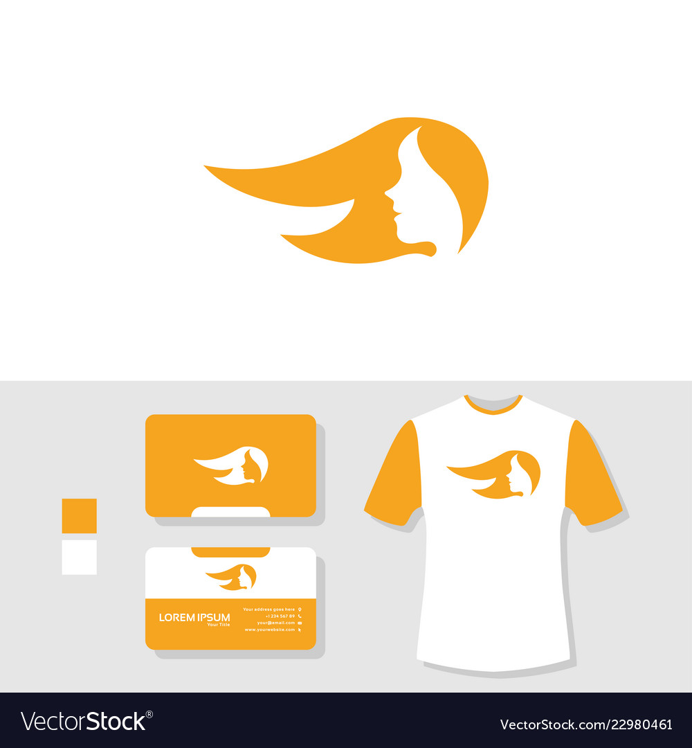 Woman logo design with business card and t shirt