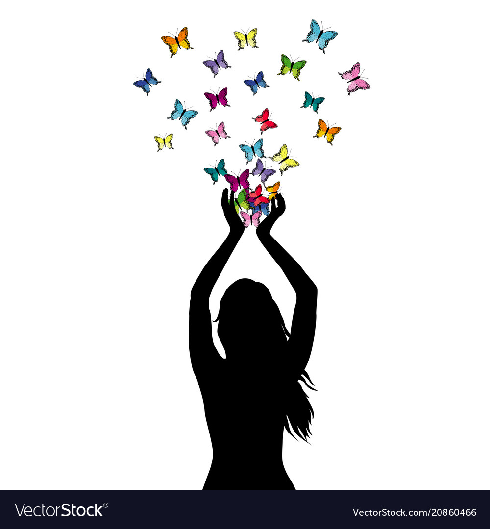 Abstract of a woman silhouette with butterflies