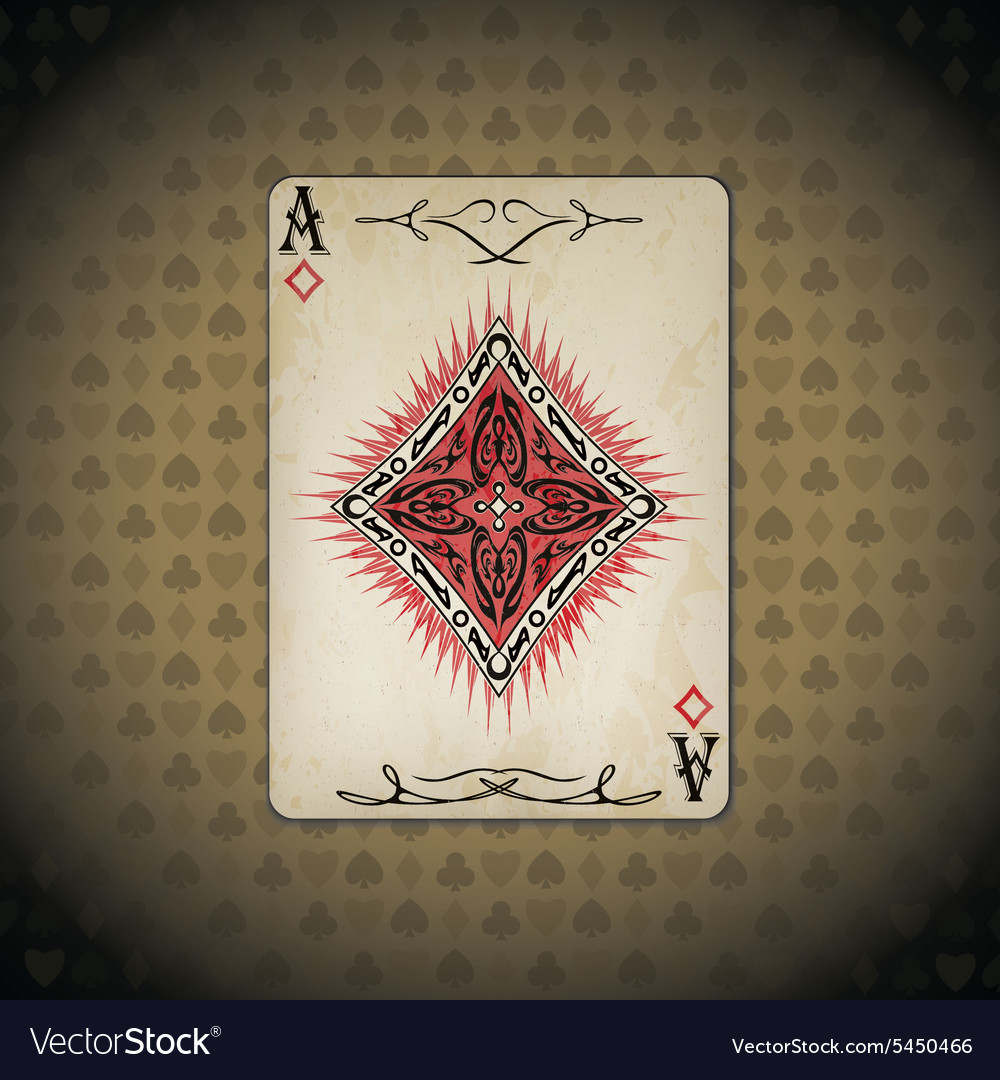 Ace of diamonds poker cards old look vintage