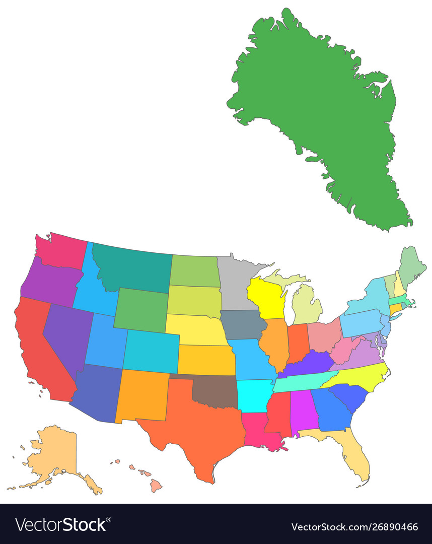 Color usa map with all states and greenland