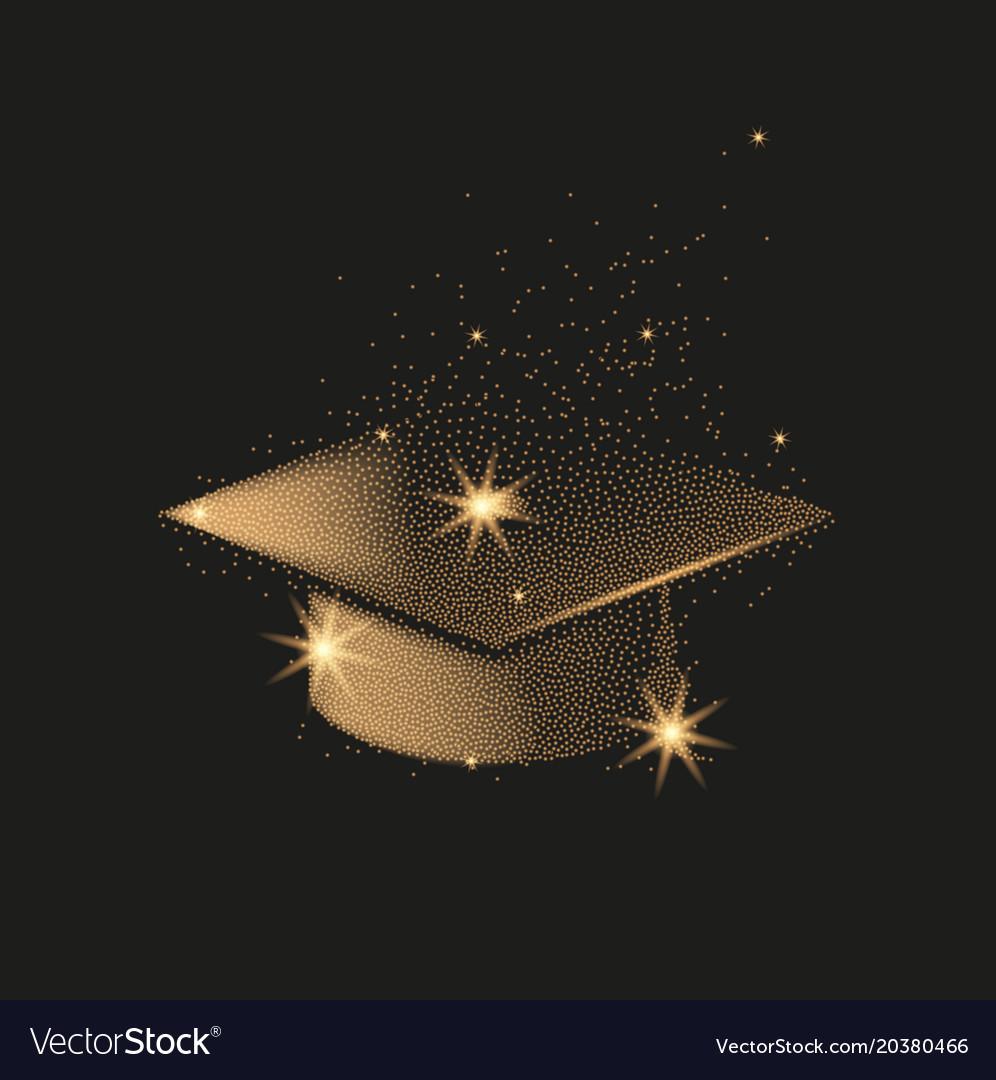 Graduation hat or mortar board divergent gold vector image