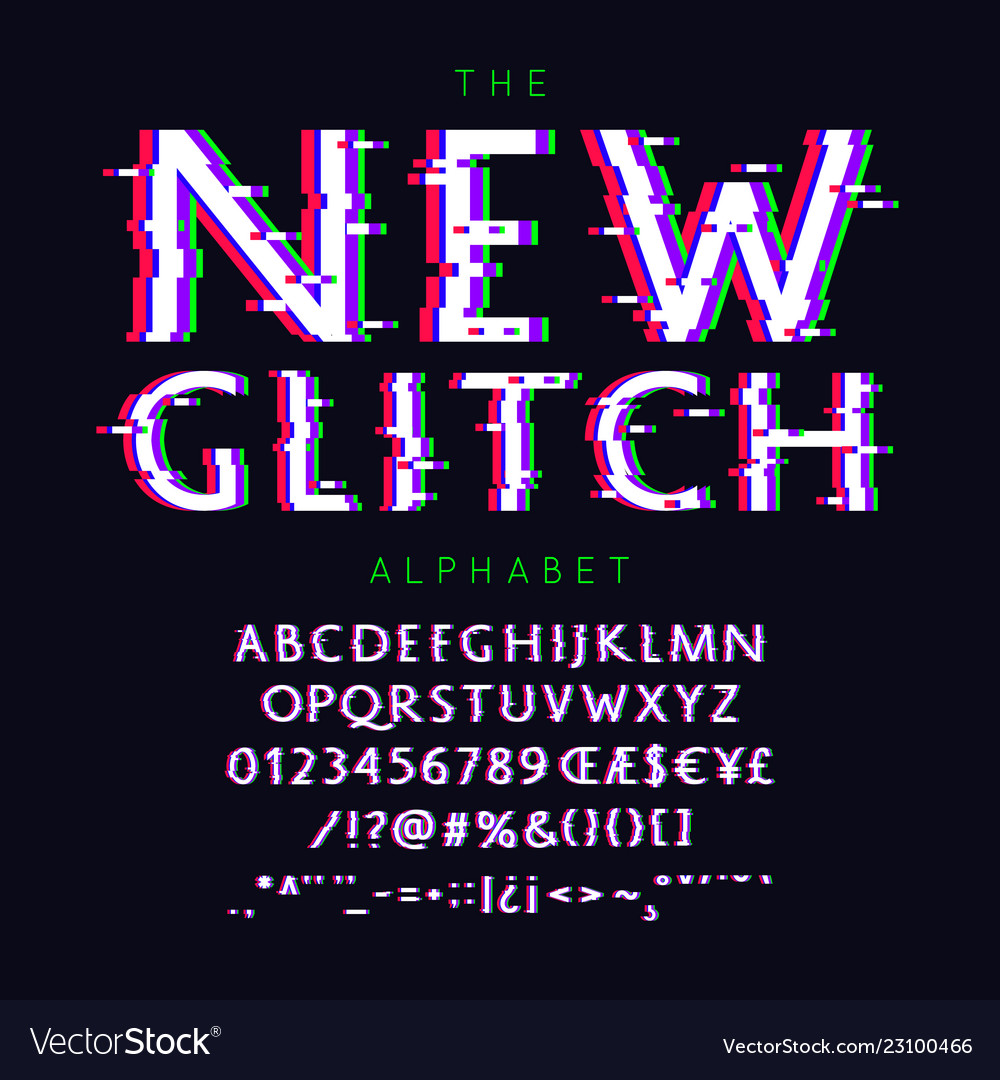 New glitch font and alphabet with numbers