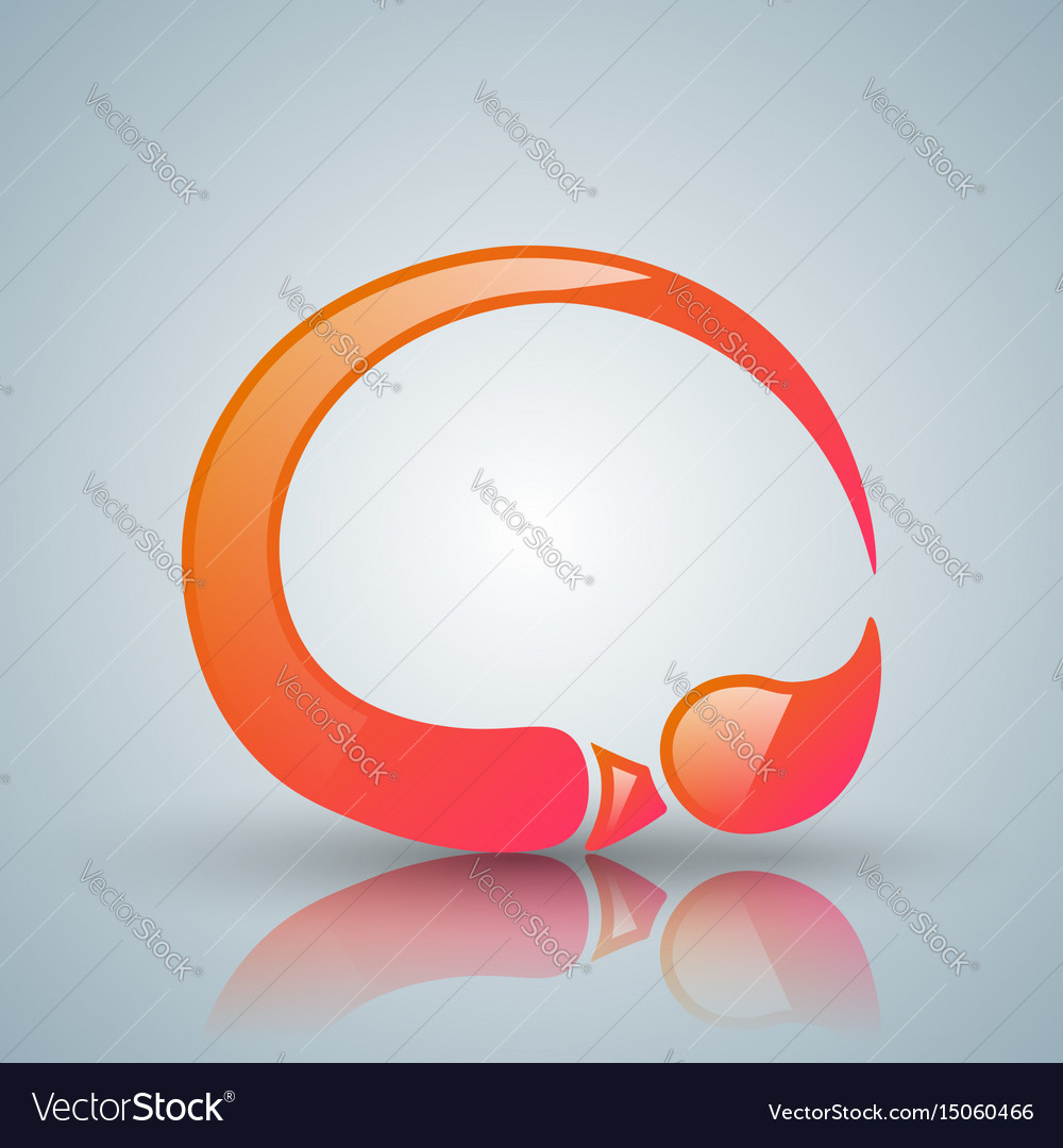 Red brush icon with white reflection vector image