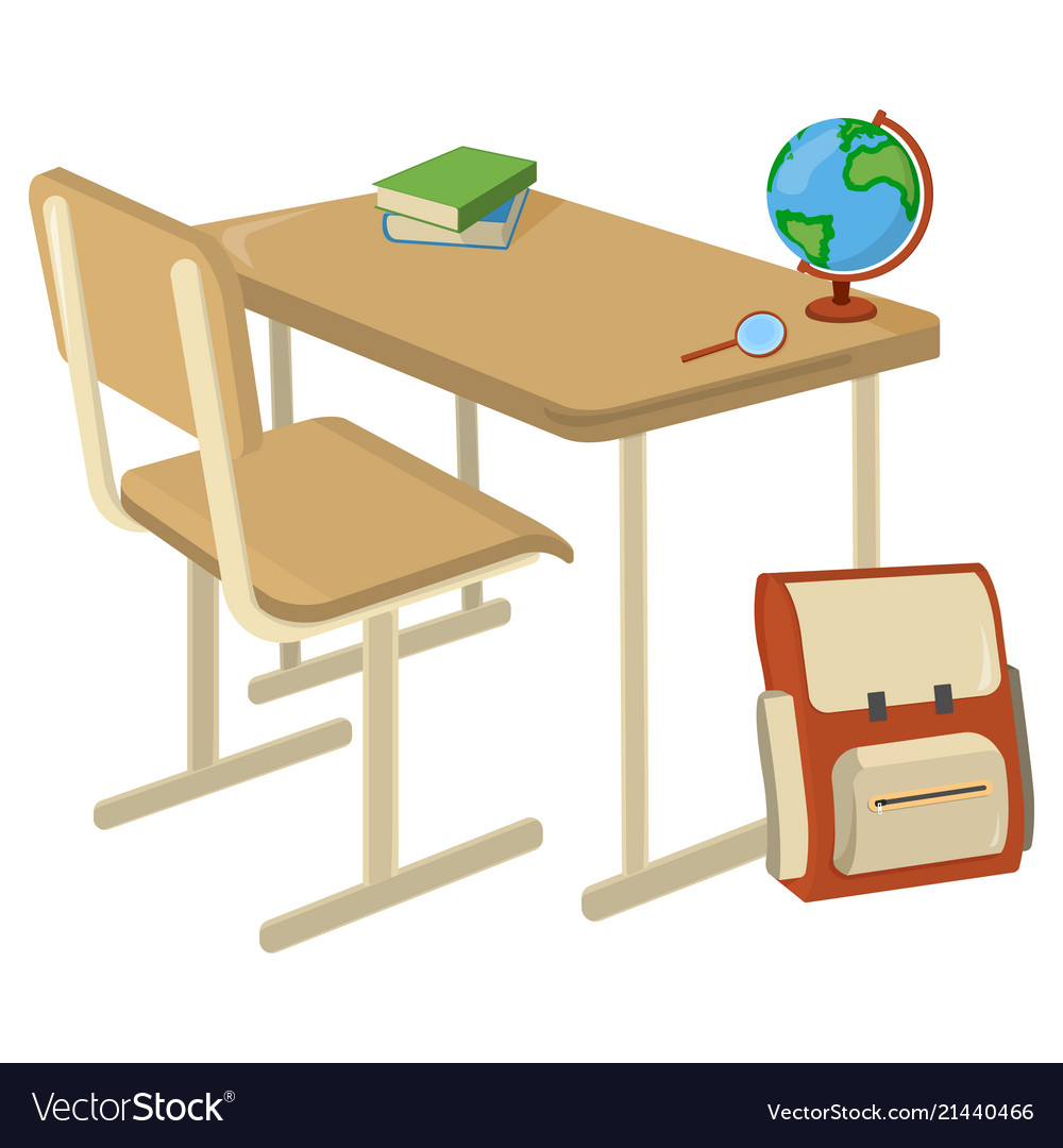 School desk with school supplies icon and logo