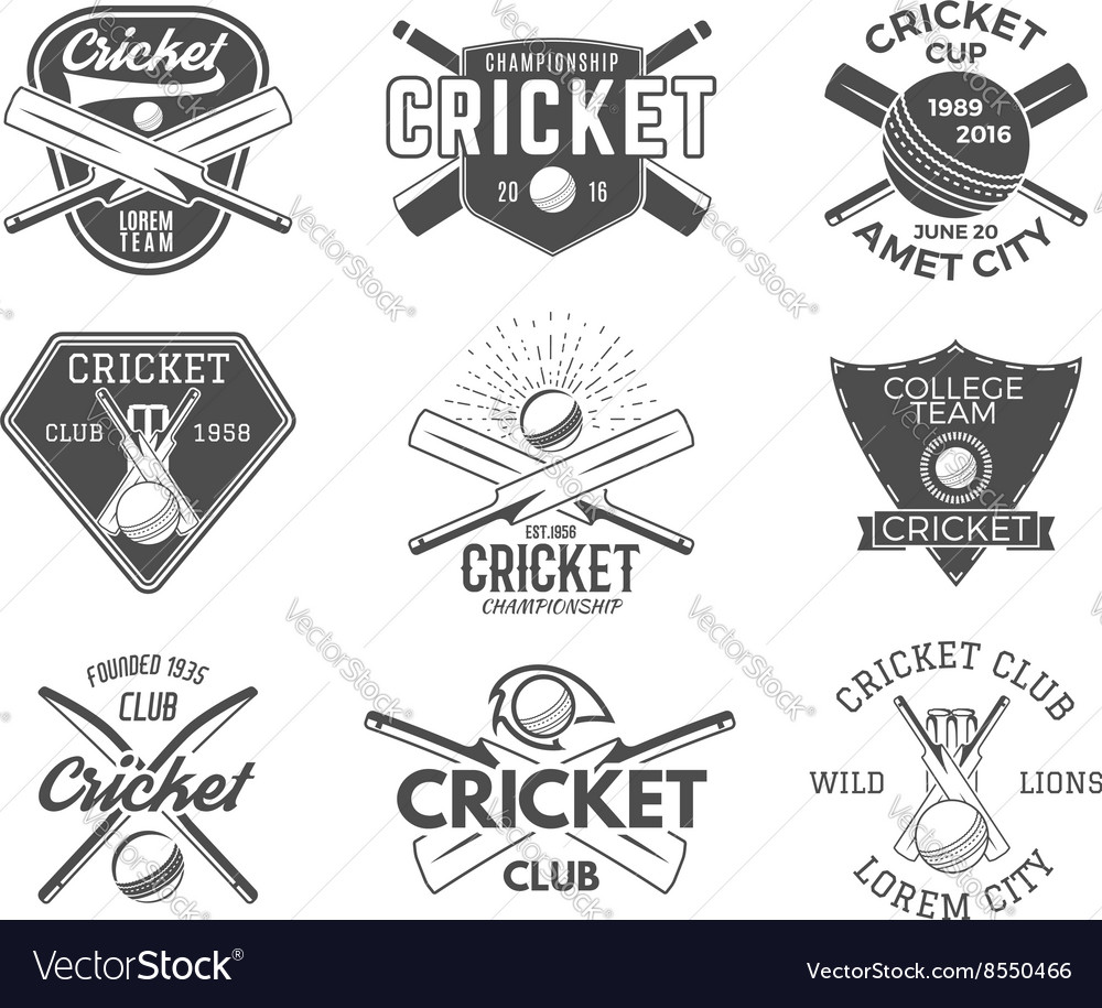 Set of cricket sports logo designs Cricket icons vector image