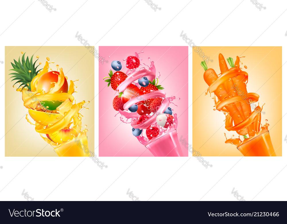 Set of labels of of fruit in juice splashes