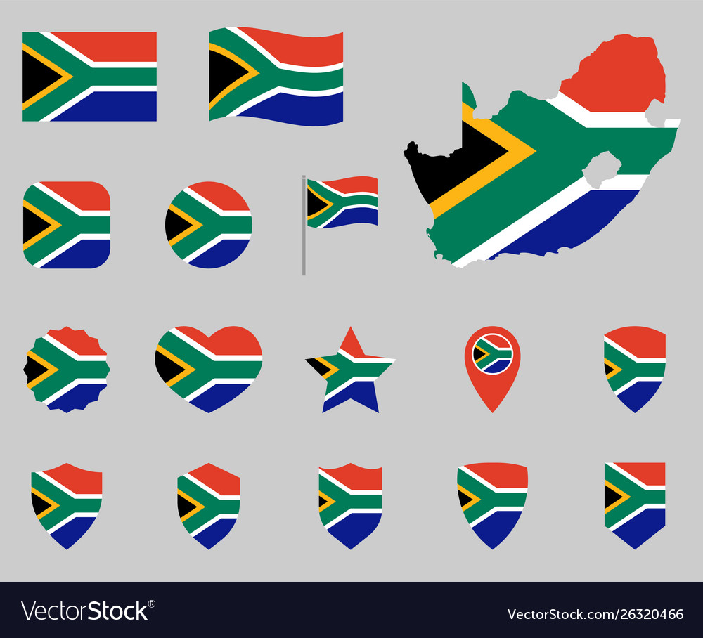 South africa flag icon set flag republic