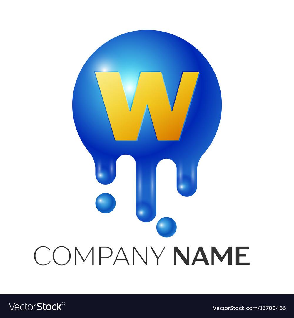 W letter splash logo blue dots and bubbles letter