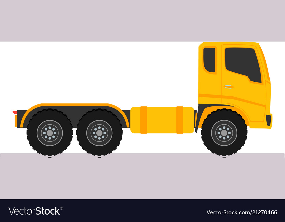 Yellow tractor truck trailer long vehicle with