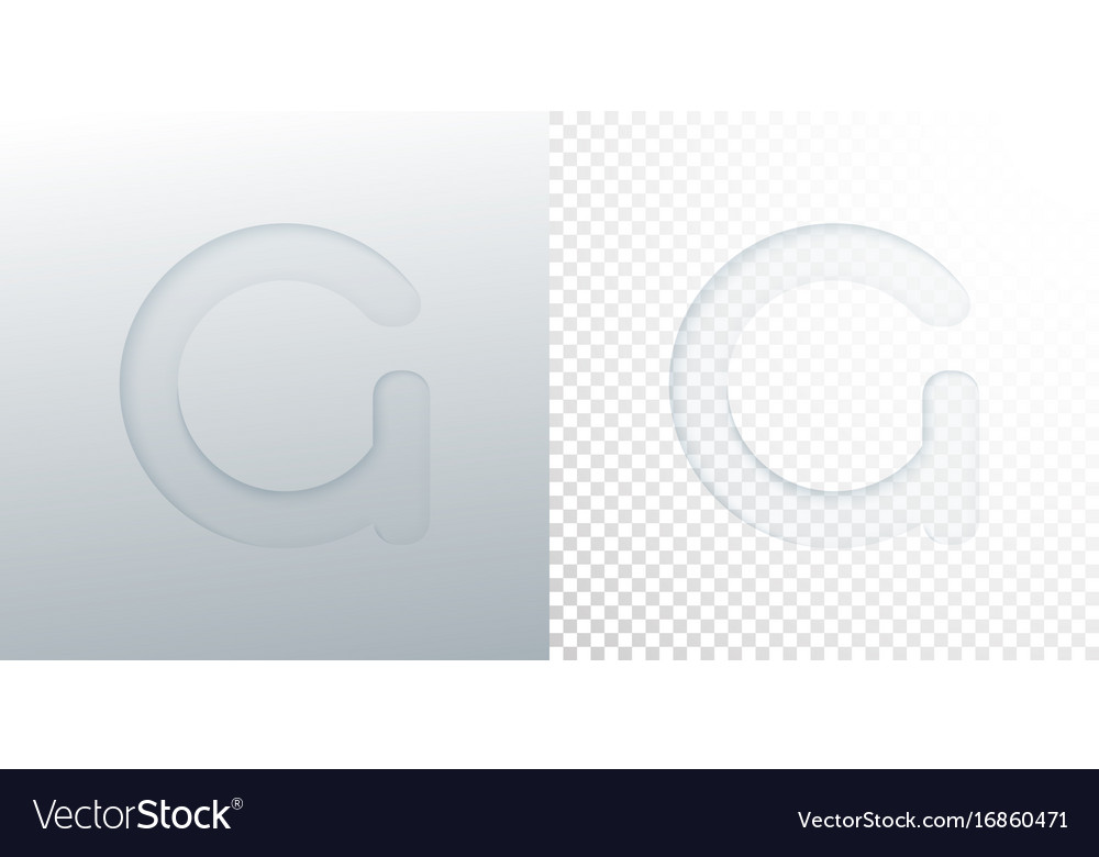 3d paper cut letter g isolated on transparent