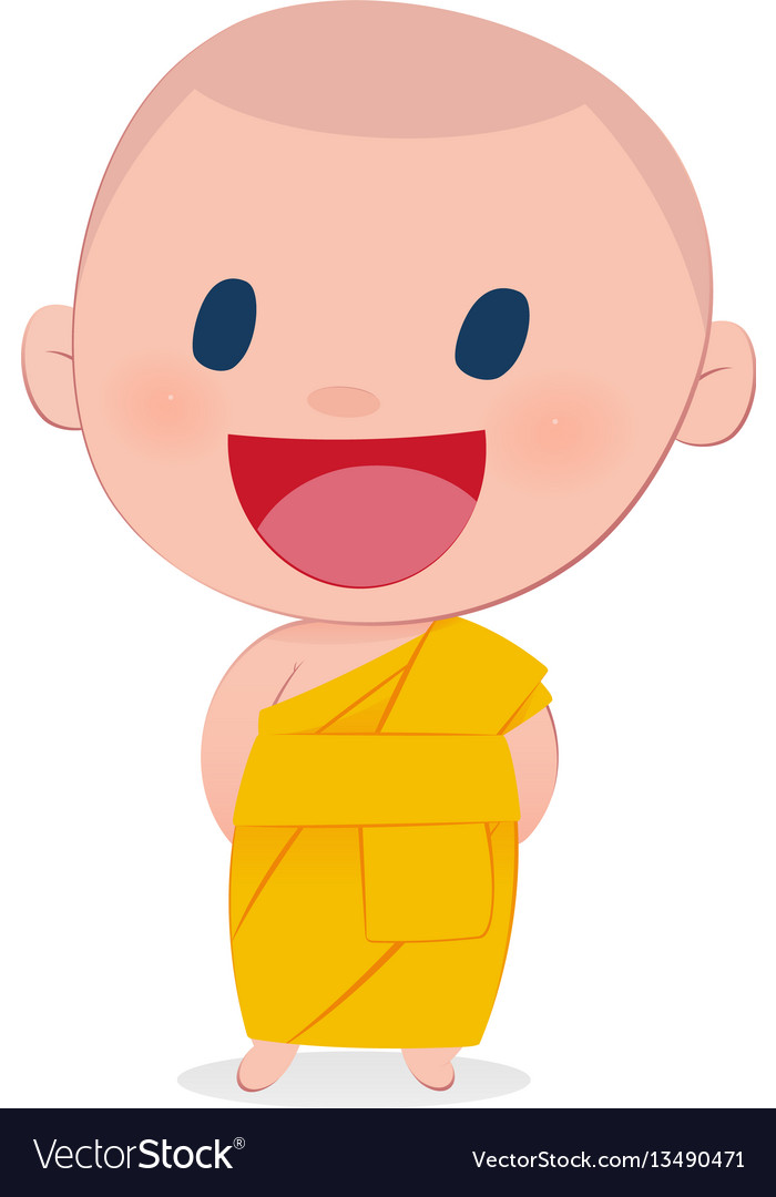 A child monk smile isolate on white background