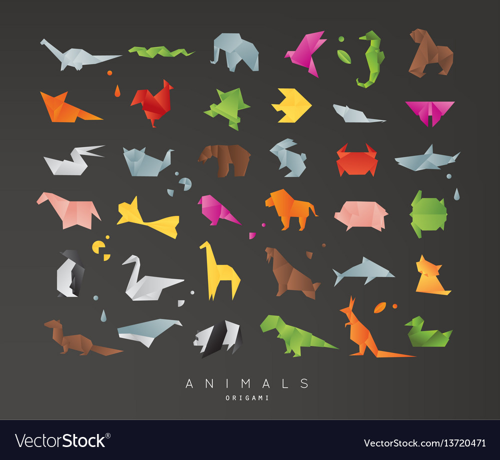 Animals origami set black