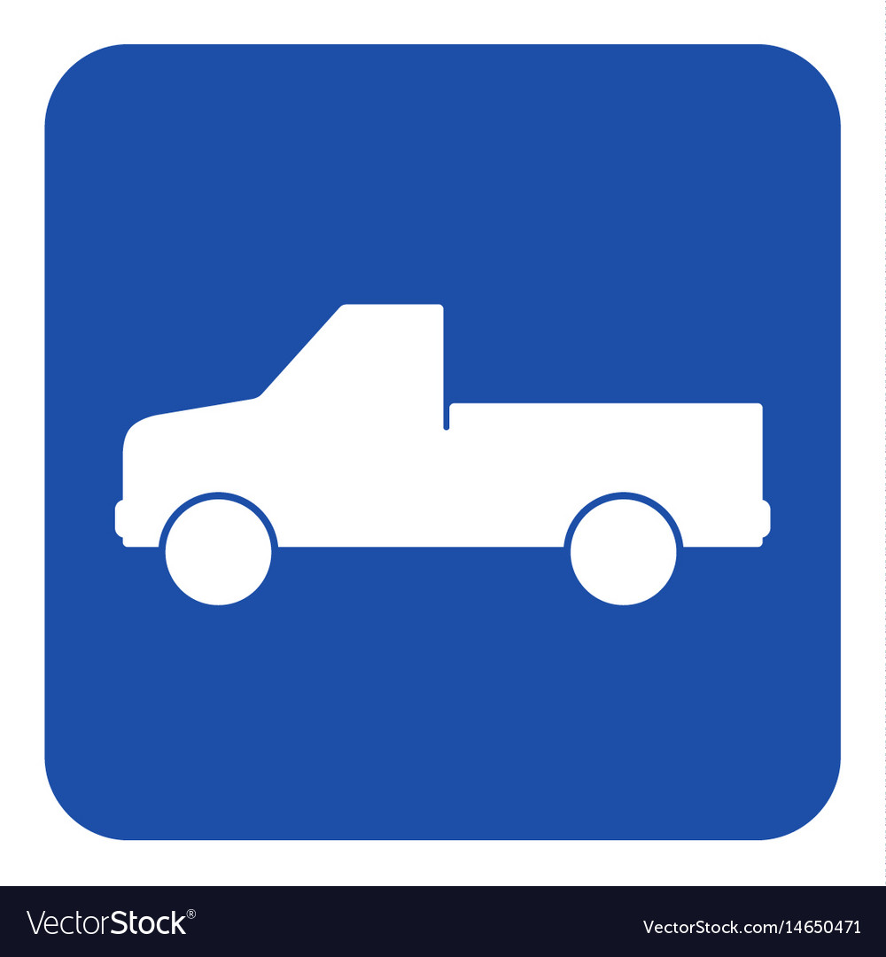 Blue white sign - pickup with a flatbed icon