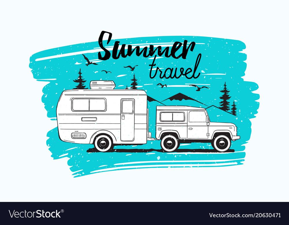 Car Towing Caravan Trailer Or Camper Against Vector Image