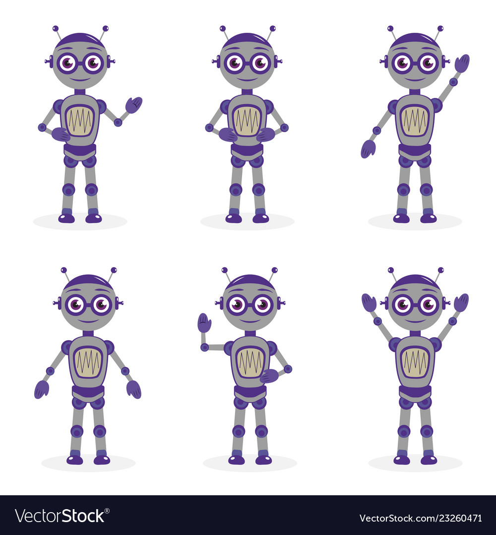 Cartoon robot mascot set of objects in flat style