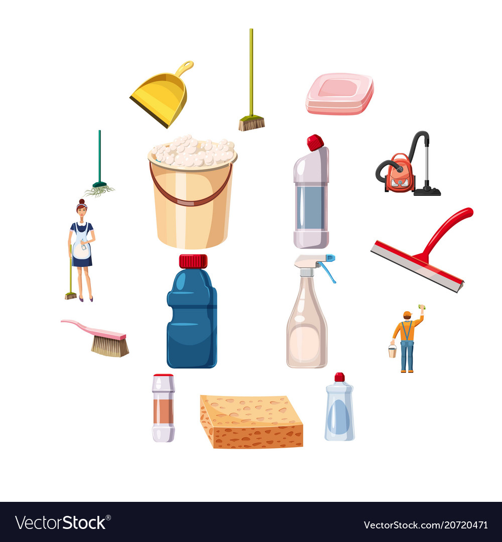 Cleaning icons set detergents cartoon style