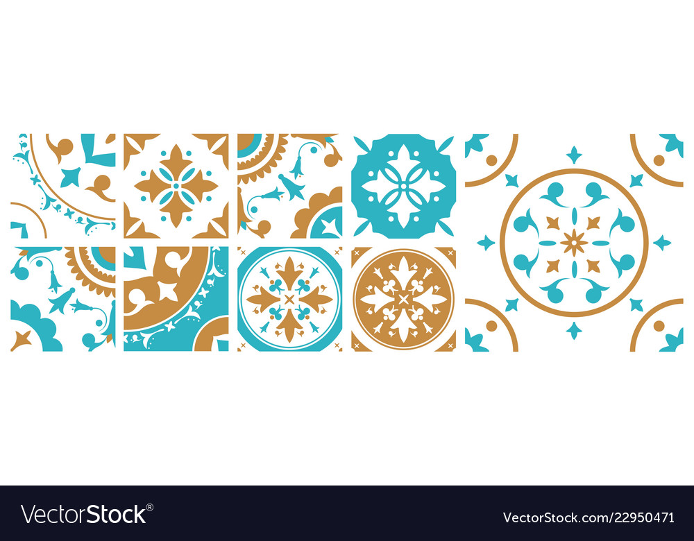 Collection of decorative square tiles with various