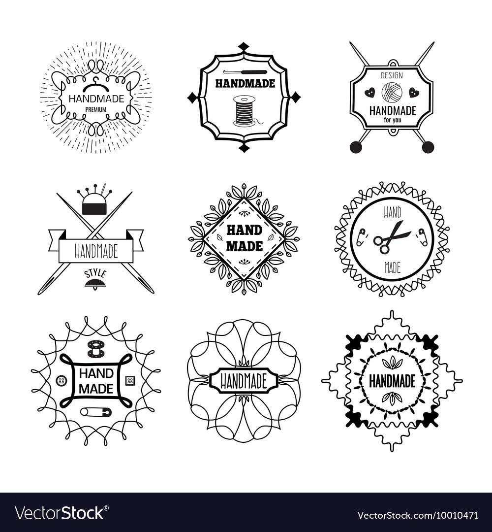 Handmade Hipster Style Monochrome Linear Emblems