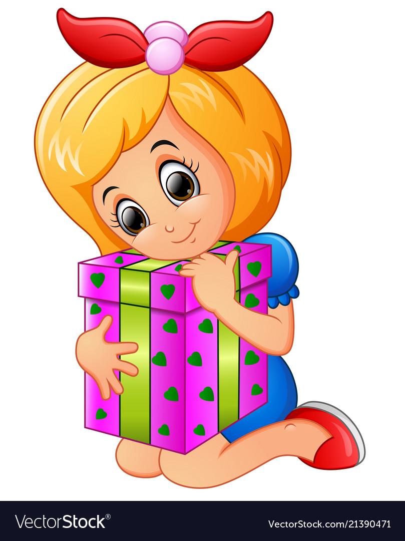 Happy Little Girl Cartoon Holding Birthday Gift Bo