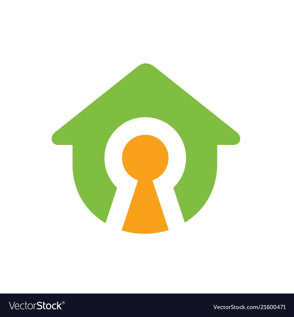 House symbol with keyhole logo design