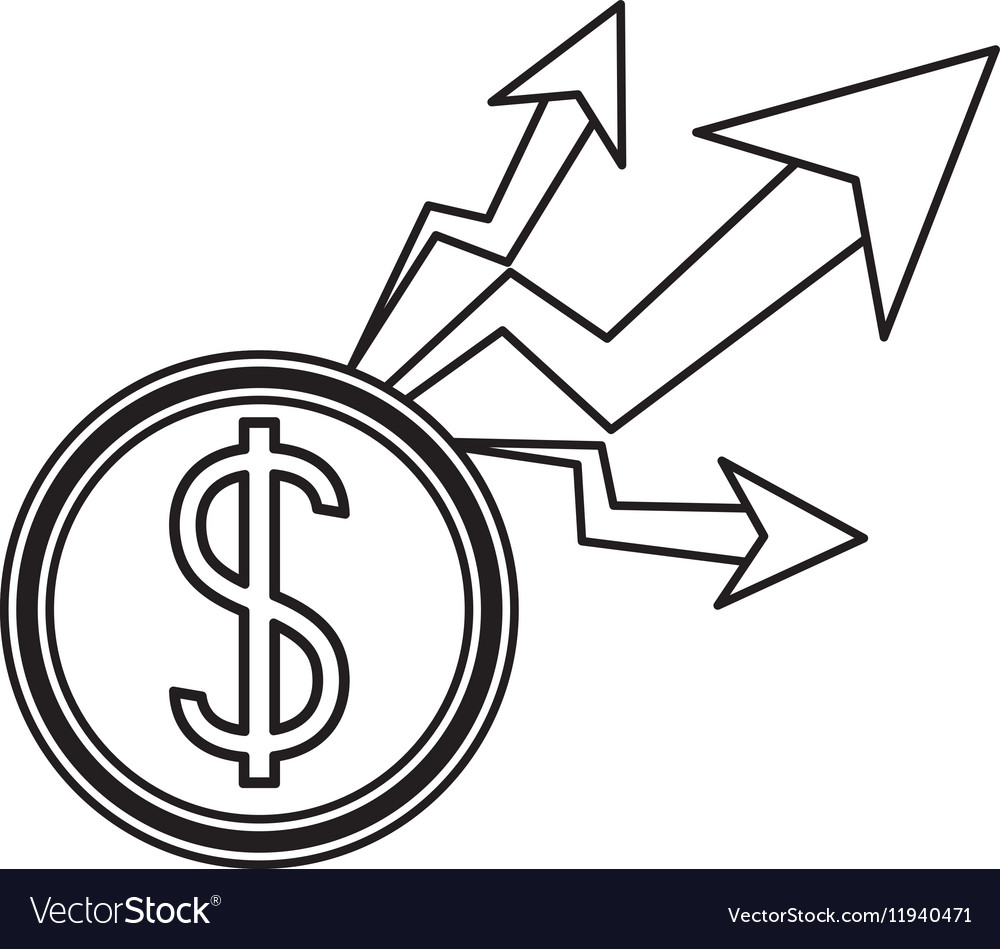 Isolated increase and coin design vector image