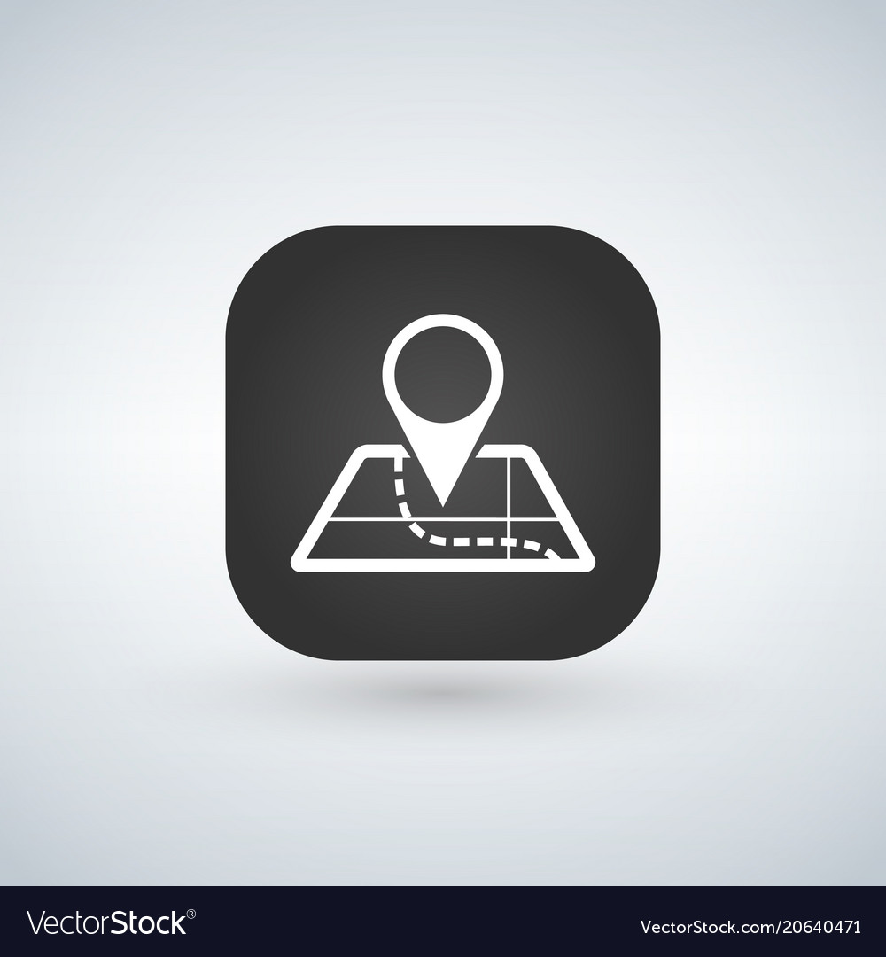 Mobile app icon navigation map and pin symbol