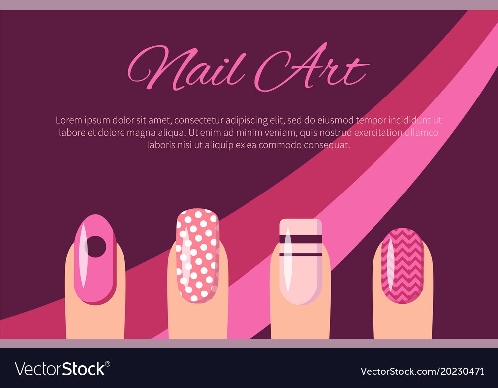 Nail art multicolored poster Royalty Free Vector Image