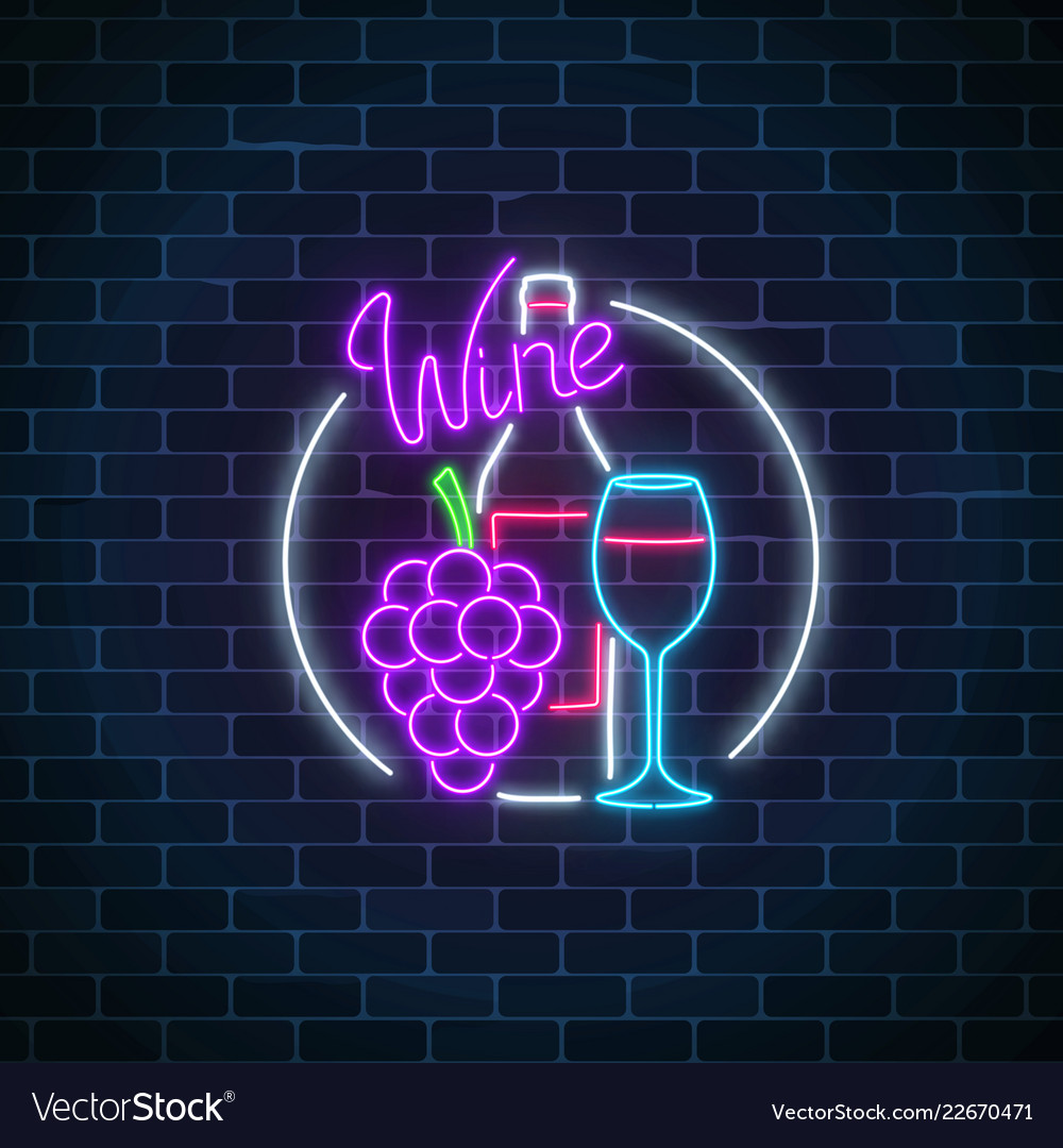 Neon glowing sign of wine store in circle frame