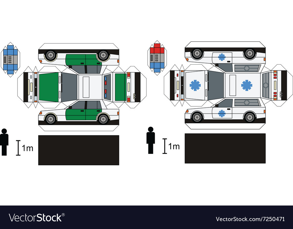Paper models of police and ambulance cars