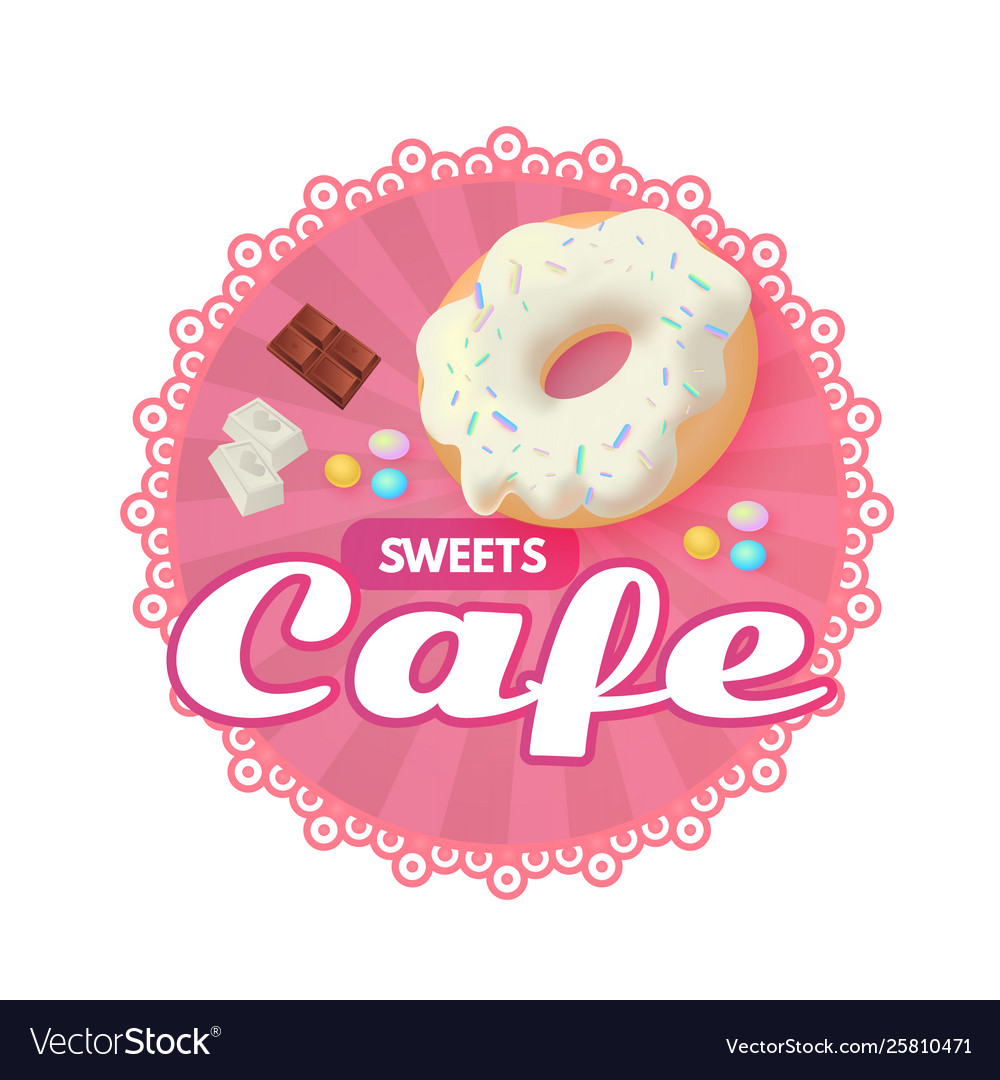 Sweet cafe sticker template chocolate and donut