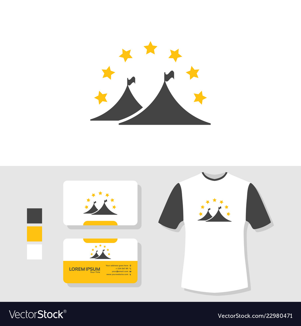 Tent logo design with business card and t shirt