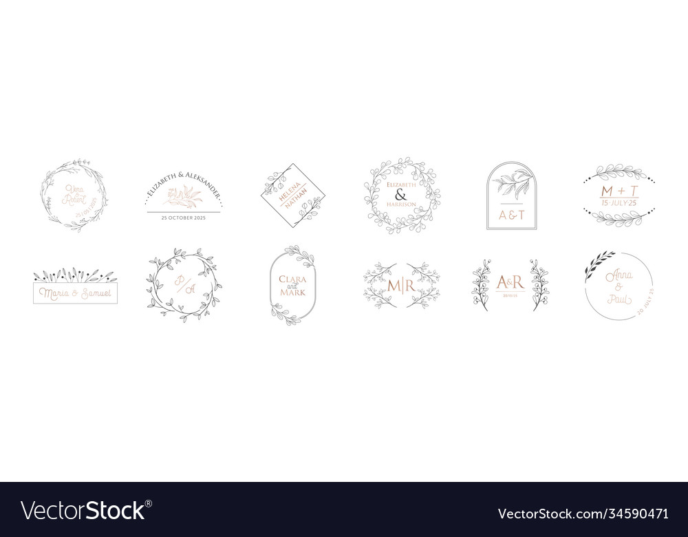 Wedding monogram modern collection minimalistic