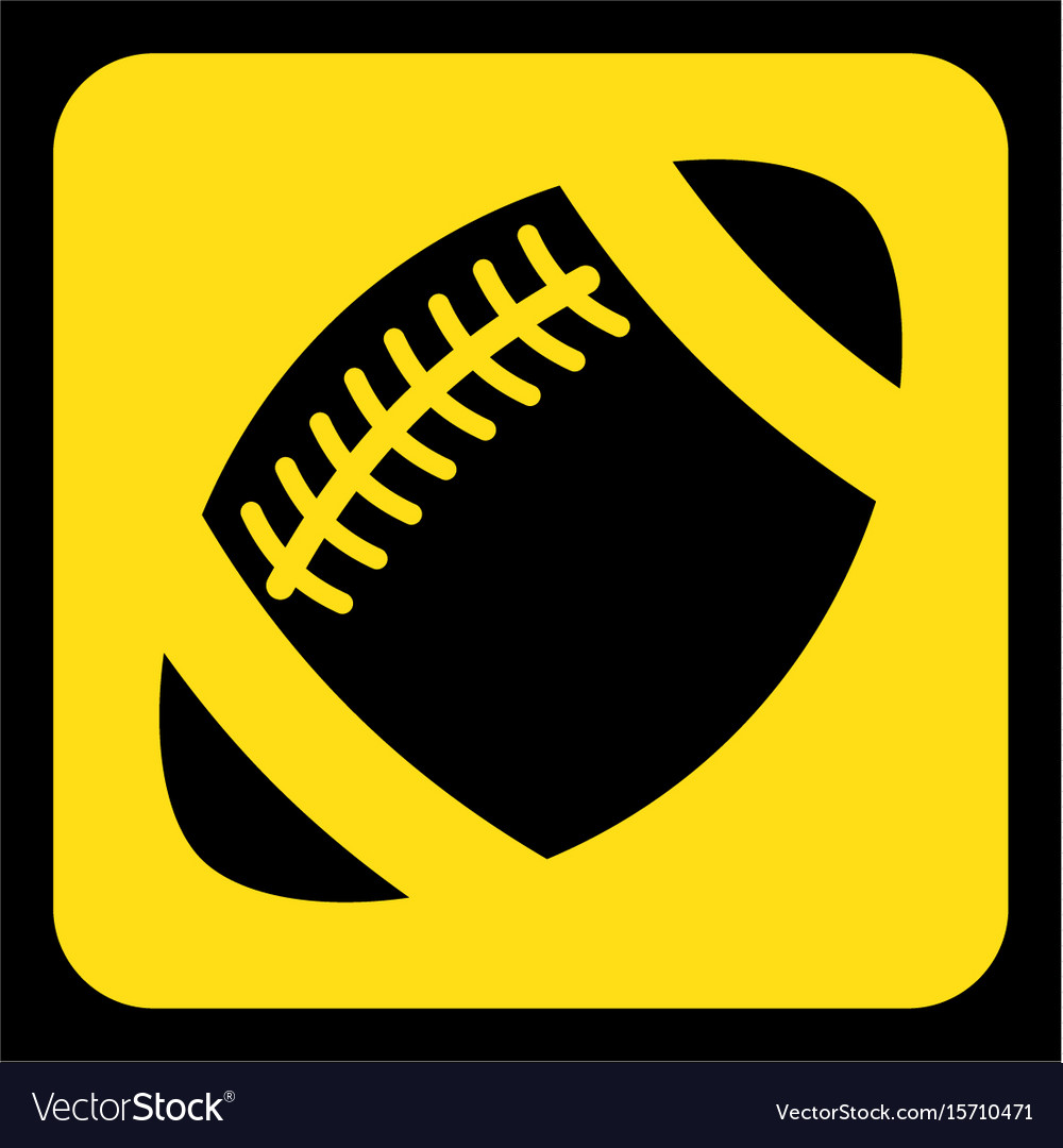 Yellow black sign - american football ball icon vector image