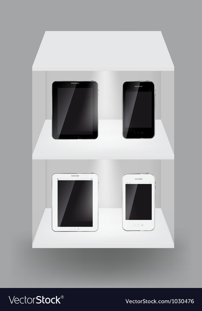 Abstract design tablet and mobile phone on white