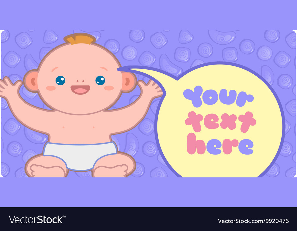 Banner template with kawaii baby and text
