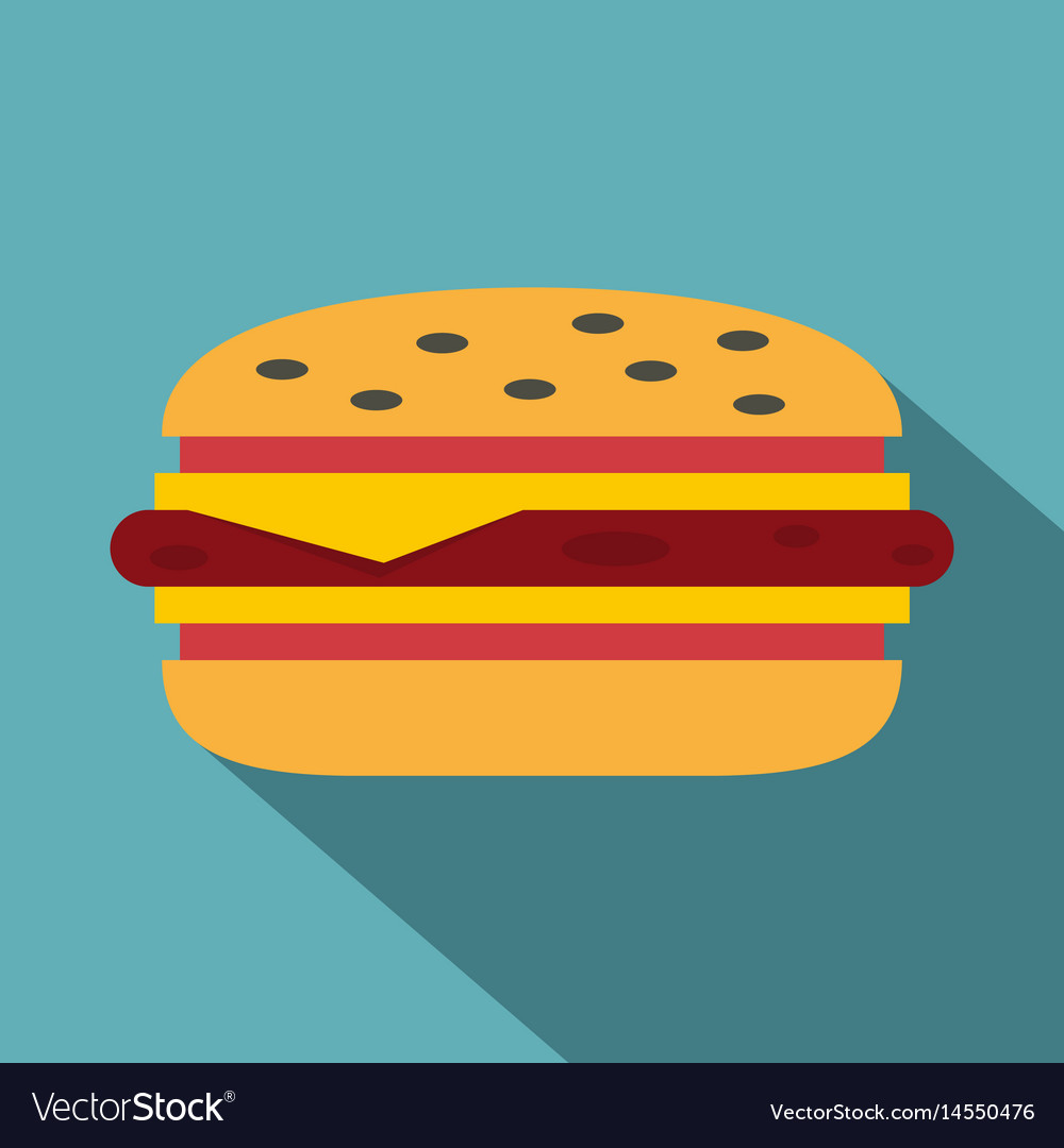 Classic cheeseburger icon flat style vector image
